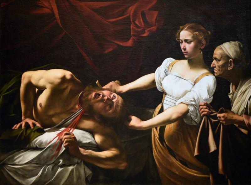 Italian painter Caravaggio painted the biblical scene of Judith beheading Holofernes