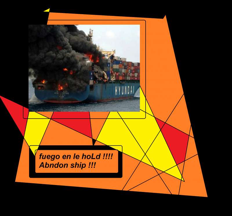 fuego en Le hoLd abandon ship